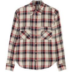 Étoile Isabel Marant Ugo plaid linen-blend shirt (630 BRL) ❤ liked on Polyvore featuring tops, shirts, plaid, red, loose fitting tops, colorful tops, loose shirts, loose fit tops and loose fitting shirts