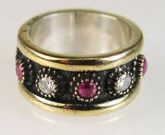 Estate 14K Gold/925 Silver 1.50ct Ruby & White Sapphire Ring Eternity Band 8gr