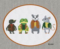 Wind in the Willows Cross Stitch Pattern available for instant download via Etsy. Mole, Ratty, Mr.Toad and Mr.Badger    The Wind in the Willows is a