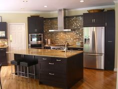espresso kitchen cabinets, love them. not too crazy about the