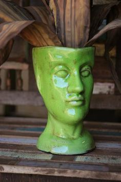 At West End: green ceramic head vase | human head shaped ceramic vase