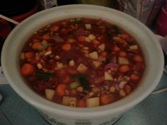 Crockpot vegetable beef soup - very good! Left out the corn and water.