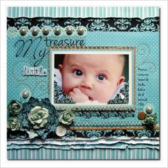 Nice single scrapbook page featuring just one photo. Like the embellishments.