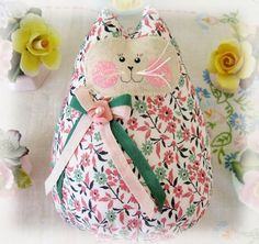 Cat  Doll 6 inch Free Standing Kitty Rosy Peach by CharlotteStyle, $15.00