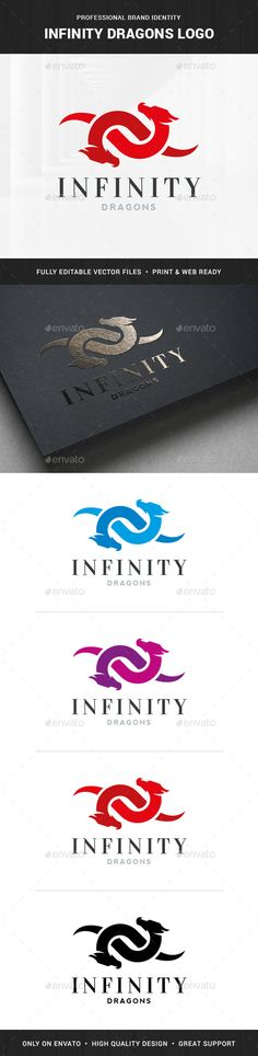 Infinity Dragons Logo Template by LiveAtTheBBQ The Infinity Dragons Logo TemplateA professional logo for many kinds of business. All elements are fully vector and can be used f