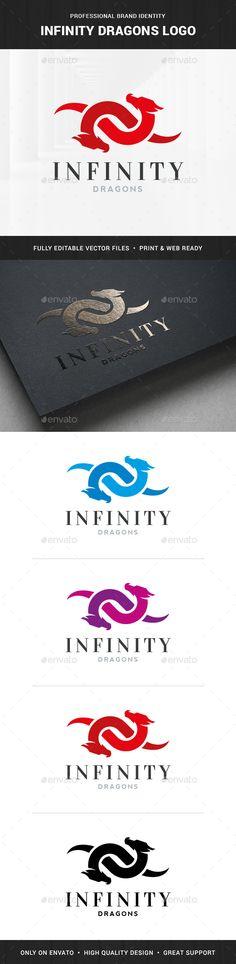 Infinity Dragons Logo Template Vector EPS, AI Illustrator