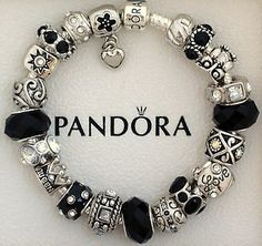 New Authentic S Silver Pandora Bracelet Black Love Heart Charms Holiday Gift | eBay
