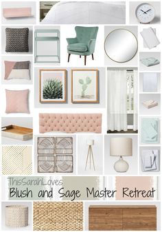to create a relaxing master retreat. Pink Living Room, Sage Living Room, Relaxing Master Bedroom, Blush Bedroom Walls, Bedding Master Bedroom, Pink Master Bedroom, Green Master Bedroom, Master Bedroom Retreat, Sage Green Bedroom