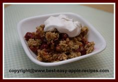 Homemade Cranberry Apple Crisp Recipe...great idea for a Christmas Holiday Dessert!
