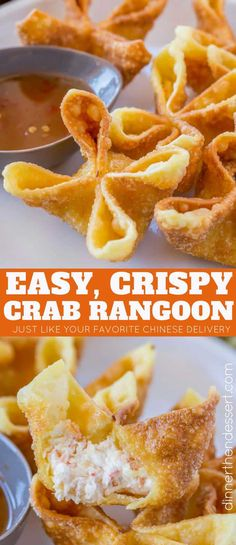 Chinese Food Recipes 97452 Crab Rangoon are crab and cream cheese wontons with green onions pinched into little purses and deep fried, these are the perfect Chinese restaurant copycat recipe served with sweet and sour sauce or sweet chili sauce. Wonton Recipes, Appetizer Recipes, Dessert Recipes, Seafood Appetizers, Chinese Appetizers, Italian Appetizers, Cold Appetizers, Fondue Recipes, Chinese Desserts