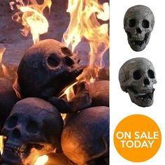 SKULL-SHAPED CERAMIC FIREPLACE LOGS, a fantastically gruesome add-on for your fireplace ★ Made in USA ★ Free Shipping ★