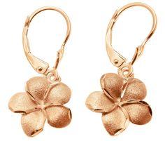 15.5MM 14K SOLID PINK ROSE GOLD HAWAIIAN PLUMERIA FLOWER EARRINGS LEVERBACK