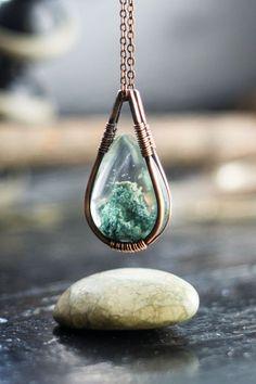 Metal wrapped teardrop necklace