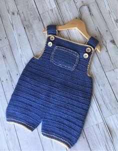 Crochet Pattern Baby Overalls - Newborn to 3 years - Dehily Onesie Pattern, Pattern Baby, Baby Sweater Patterns, Baby Patterns, Crochet Toddler, Crochet Baby Clothes, Crochet Baby Shoes, Crochet For Boys, Crochet Baby Bikini