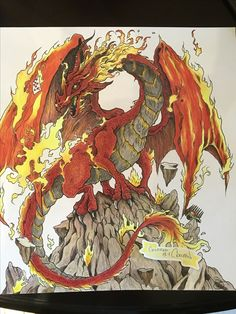 Finished My Fire Dragon From Mythomorphiacoloredvwith Prisma Pencils