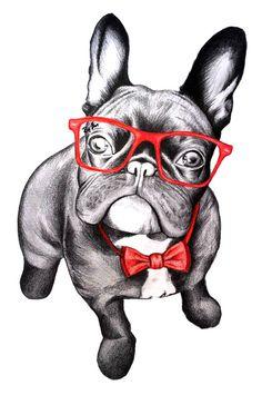 Happy Dog Frenchie Art Print