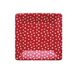 Small dots red platos medianos - Topos con rayas