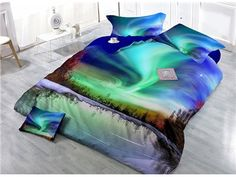 Amazing Aurora Scenery Digital Printing High Density Satin Drill 4-Piece Duvet Cover Sets