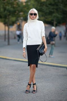 Stockholm Street Style - turtle neck and pencil skirt with heels