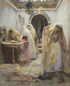 Frederick Arthur Bridgman (American, 1847-1928).  Women at the Fountain