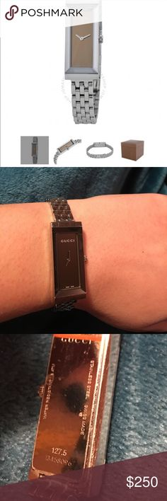 ❣️New batteries❣️💯% Authentic Gucci Ladies Watch PRODUCT DESCRIPTION: Stainless Steel Case, Stainless Steel Bracelet, Quartz Movement, Scratch-resistant Sapphire, Water Resistant Up To 30 Meters - 99 Feet Swiss Made          ‼️Fits for a small wrist!‼️                                                      ‼️USED WITH MINOR SCRATCHES‼️                         ❣️Batteries were replaced on 04/01/17❣️                                                       I don't have box or papers because I got…