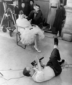 """Audrey Hepburn  Fred Astaire on the set of """"Funny Face"""""""