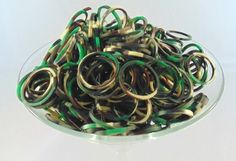 Camouflage Army Camo Colors 1800 Rubber Band Color Bands with S Clip Eds Industries