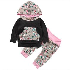 da9d6ca6fe3f Cute Kids Baby Girl Autumn Floral Outfits Clothes Newborn Boy Long Sleeve  Flower Hooded T-shirt Tops+Pants Clothes Set