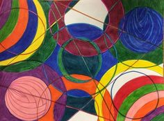 Delaunay circles in primary and secondary colors - Artsonia Lesson Plan