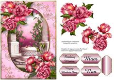 Gorgeous Glory Roses Garden on Craftsuprint designed by Anne Lever - This lovely design features gorgeous glory roses, on a pink and golden frame, with a garden backdrop. It has a single layer of decoupage to add depth, four greetings to choose from and a blank greetings tile. The greetings are birthday wishes, happy mothers day, mum and nan.  - Now available for download!