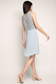 Esprit / Chiffon jurk met layertop van kant