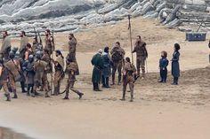 Snow can be seen with his advisor, Davos Seaworth (Liam Cunningham) meet some Dothraki.