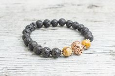 Black lava stone and jasper stone beaded rose gold Lion head stretchy #bracelet, made to order yoga bracelet, mens bracelet, womens bracelet
