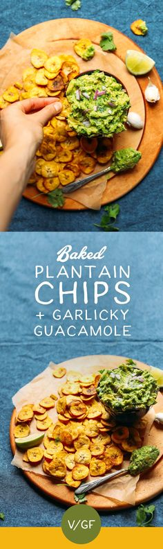 Crispy BAKED Plantain Chips and Garlicky Guac! 7 ingredients, 30 minutes, SUPER healthy! #vegan #glutenfree #plantain #guacamole #recipe #minimalistbaker