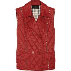 DAKS Quilted Vest ($135) ❤ liked on Polyvore featuring outerwear, vests, women, layered vest, daks, double breasted waistcoat, pocket vest and red waistcoat