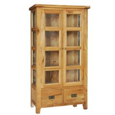 Vancouver Oak VA002 Display Cupboard/Bookcase with Two Glazed Tempered Glass Doors  www.easyfurn.co.uk Tempered Glass Door, China Cabinet, Cupboard, Tall Cabinet Storage, Bookcase, Shelves, Glass Doors, Ranges, Vancouver