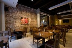 Mesmerizing Restaurant Interior Design Ideas With Brown Brick Wall And Beige Tile Floor Also Brown Wooden Square Dining Table And Wooden Chair With Interior Designers For Restaurants Also Cafe Designs Interiors, Elegant Design Best Restaurant Interiors: Interior
