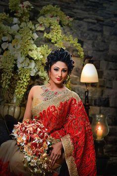 Dressed by Manjula Handapangoda. Model - Sasani Ramesha Sri Lankan Bride, Saree Wedding, Wedding Attire, Designer Wedding Dresses, Indian Beauty, Designer Wear, Beautiful Bride, Homecoming Dresses, Party Time