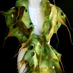 RESERVED for xDDx Felted Scarf Ruffle Olive Green Moss Green Holes Tassels Woodland Fairy Merino Wool Boho Style