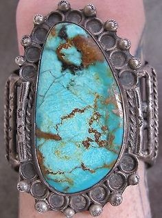 Vintage Old Dead Pawn Navajo Sterling Silver Turquoise Bracelet Cuff
