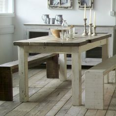 Bantham Farmhouse Table Waxed Top And Distressed White Legs Primitive Furniture