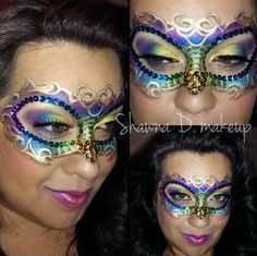 Mardi Gras mask with make up and face jewels. Adult Face Painting, Body Painting, Masquerade Makeup, Masquerade Masks, Mask Face Paint, Mask Makeup, Carnival Makeup, Mardi Gras Costumes, Face Painting Designs