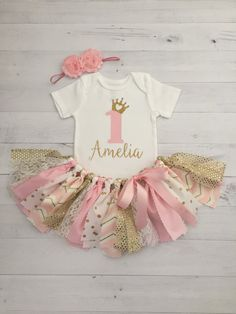 Pink and Gold Princess Theme Birthday Outfit by MeadowsMarvels