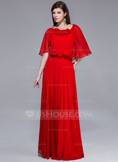 A-Line/Princess Scoop Neck Floor-Length Chiffon Evening Dress With Ruffle Flower(s) (017039547)