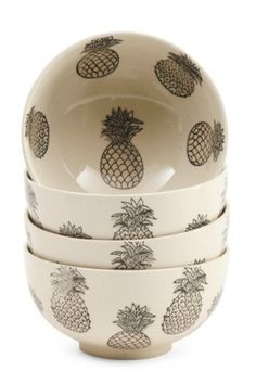 MSRP: $54.00/4PK - dishwasher and microwave safe - monochromatic - 6in w x 3in h - 4 bowls in set - pineapple pattern - glazed finish - stoneware - imported [item-gallery] [custom_html][/custom_html][