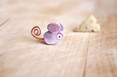 Mouse Stud Earrings Bronze-Handpainted with acrylics on Etsy, $33.00