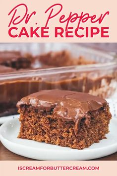 An easy, from scratch recipe that's super moist and so delicious. This chocolate Dr. Pepper cake will quickly become your favorite. Cover it with rich chocolate fudge frosting and your family will devour it. Homeade Desserts, Holiday Desserts, Fun Desserts, Dessert Recipes, Baking Desserts, Pie Recipes, Cooking Recipes, Chocolate Fudge Frosting, Amazing Chocolate Cake Recipe