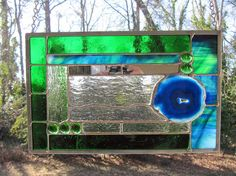 Crater Lake Blue - Cobalt Blue Agate w/Blue and Green Glass: Stained Glass Panel with Glass Gem Accents