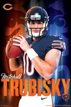 "Mitch Trubisky ""Arrival"" Chicago Bears NFL Football Poster - Trends International *my favorite player* got his jersey Nfl Football Teams, Bears Football, Nfl Chicago Bears, Football Helmets, Chicago Football, Football Posters, Sports Graphic Design, Sports Wall, Baseball Equipment"
