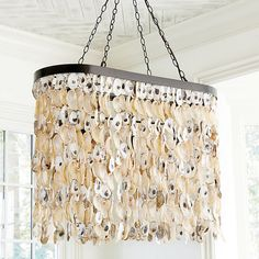 Ballard Designs Oyster Chandelier ($799) ❤ liked on Polyvore featuring home, lighting, ceiling lights, beaded chandelier, shimmer lights, filament lamp, filament lighting and oval lighting